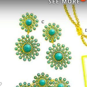 Premier gold turquoise pierced/clip on earrings
